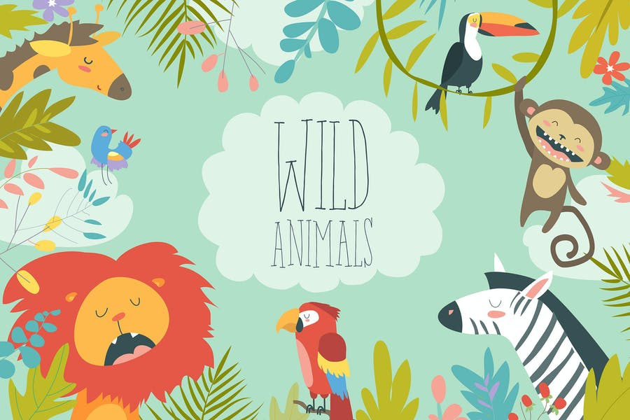 Happy jungle animals creating a framed background. - product preview 0