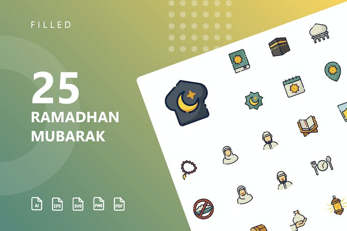 Thumbnail for Ramadhan Mubarak Filled Icons