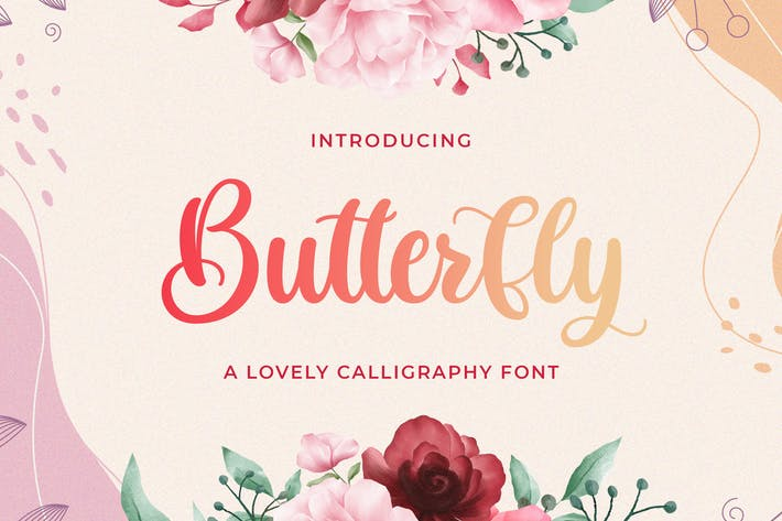 Thumbnail for Butterfly - Lovely Calligraphy Font