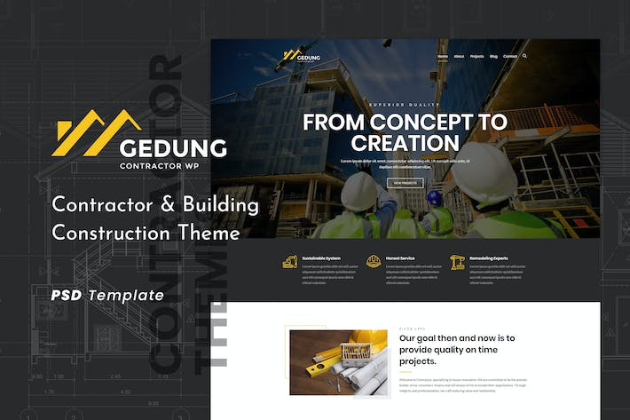 Thumbnail for Gedung | Contractor & Building Construction PSD
