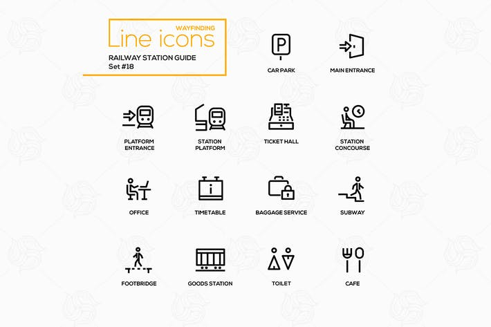Railway Station Guide - line icons, pictograms set