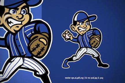cartoon kid of baseball pitcher