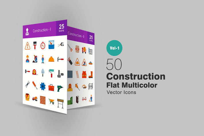 Thumbnail for 50 Construction Flat Multicolor Icons