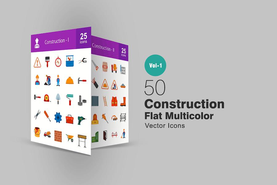 50 Baufläche Multicolor Icons