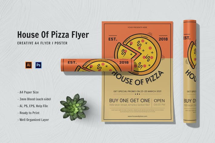 House Of Pizza Flyer