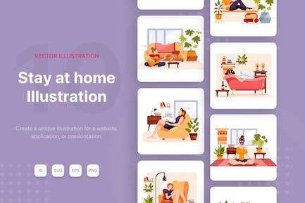 Ilustraciones Vector Relájese en casa