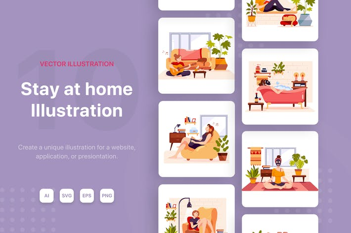 Thumbnail for Relax at Home Vector Illustrations