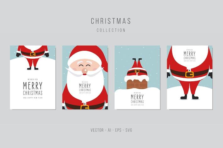 Thumbnail for Рождественский набор Вектор карт Санта-Клауса