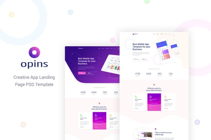 Thumbnail for Opins - Creative App Landing Page PSD Template