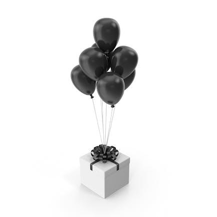 Gift Box with Black Ribbon and Black Ballons