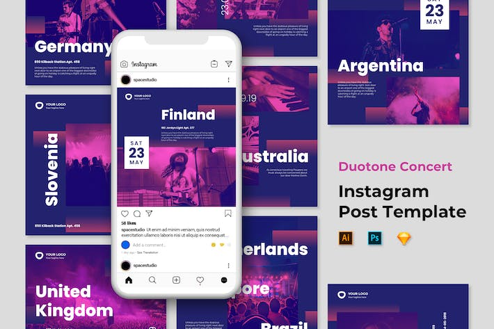 Thumbnail for Music Instagram Templates