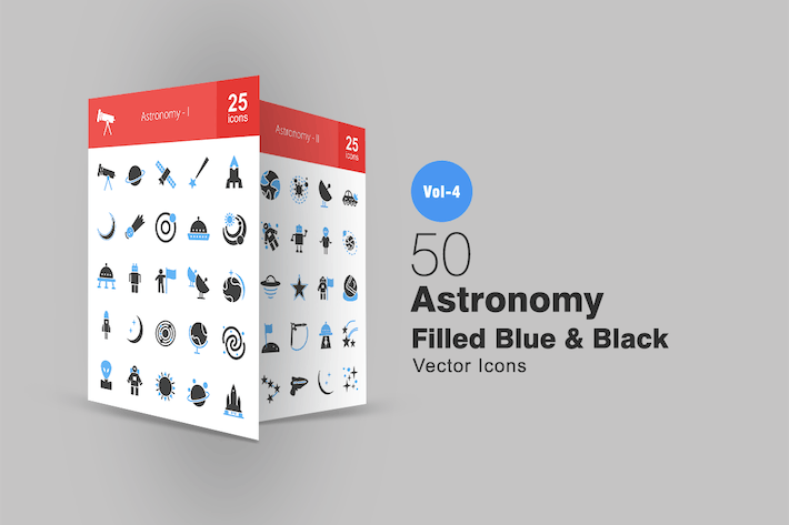 Thumbnail for 50 Astronomy Blue & Black Icons