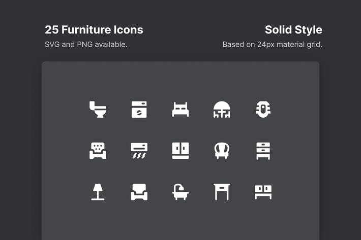 Thumbnail for Furniture Icons - Solid Style