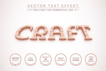 Wood Craft -  Editable Text Effect, Font Style