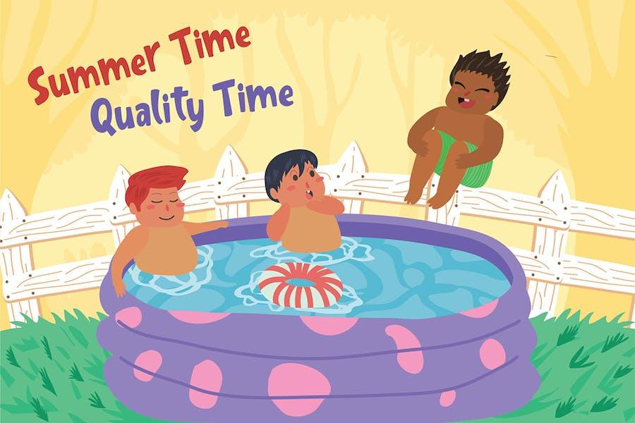 Swimming Backyard - Vector Illustration