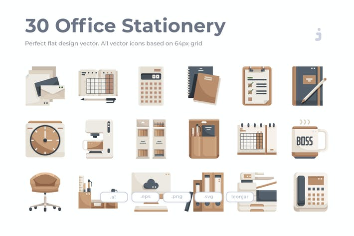 Thumbnail for 30 Office Stationery Icons - Flat