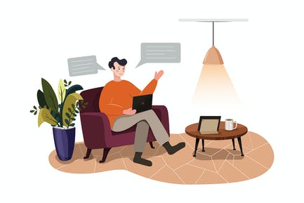 Telecommuting tips concept vector illustration