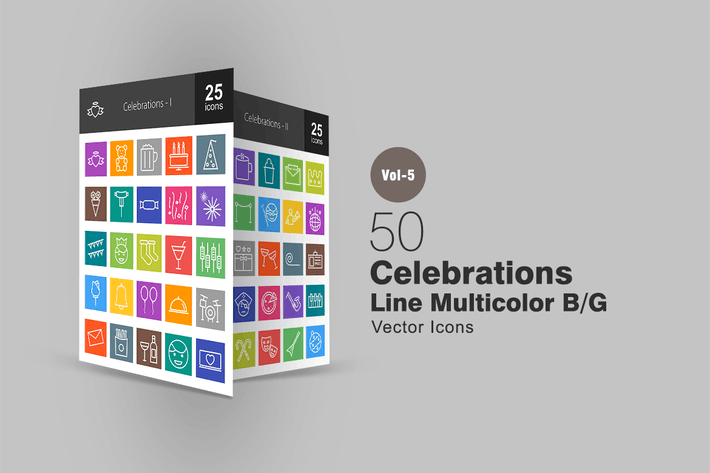 Thumbnail for 50 Celebrations Line Multicolor Icons
