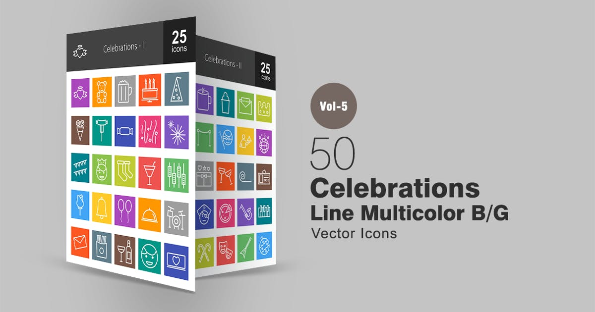 Download 50 Celebrations Line Multicolor Icons by IconBunny