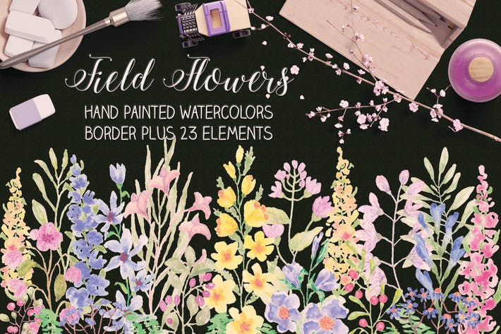 Thumbnail for Field Flowers: Watercolor Border plus Elements