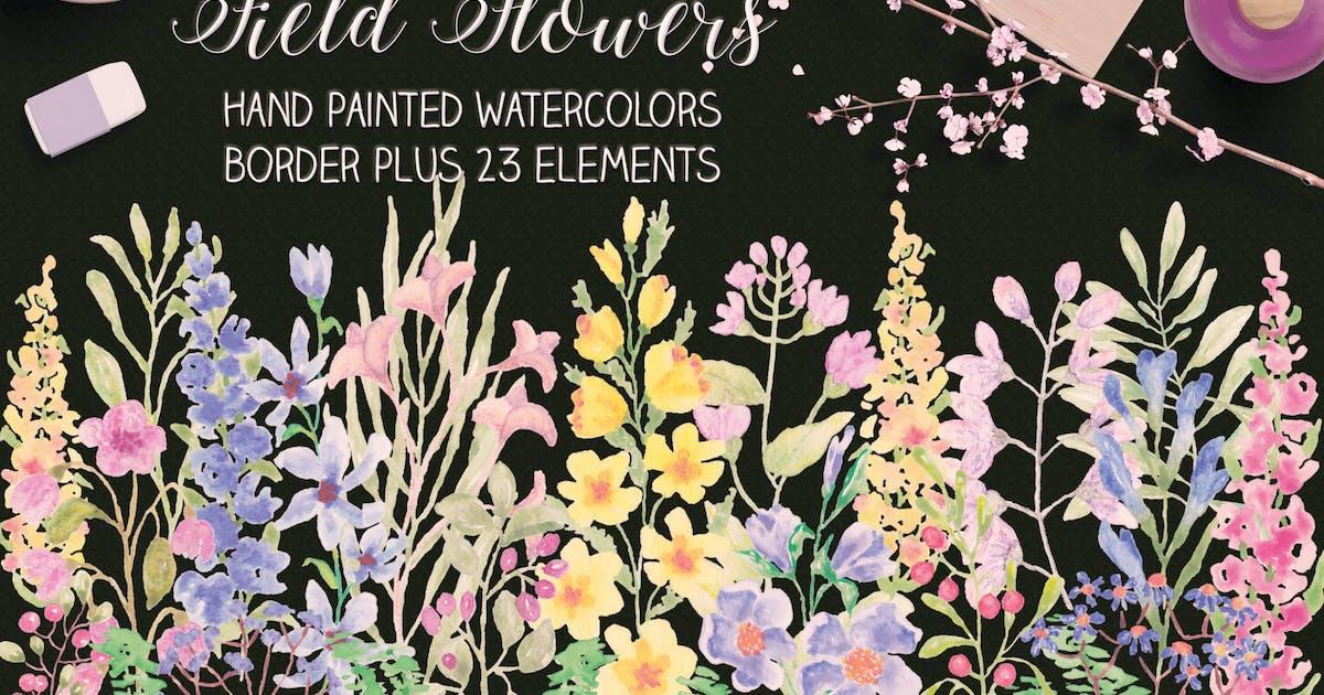 Download Field Flowers: Watercolor Border plus Elements by lollyslaneshoppe