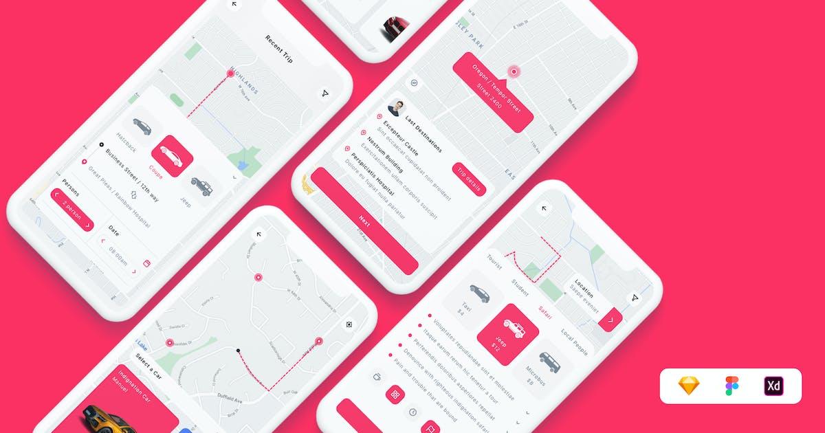 Download Car - Ride Sharing App UI Kit by betush