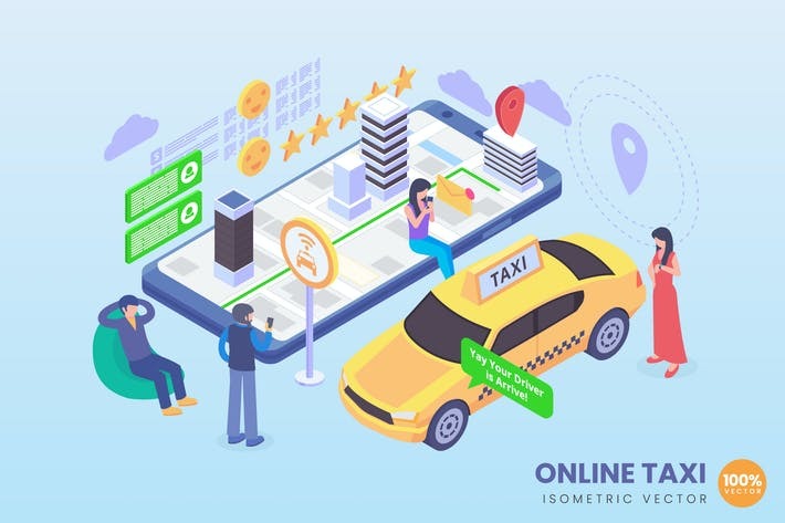 Isometric Online Taxi Concept