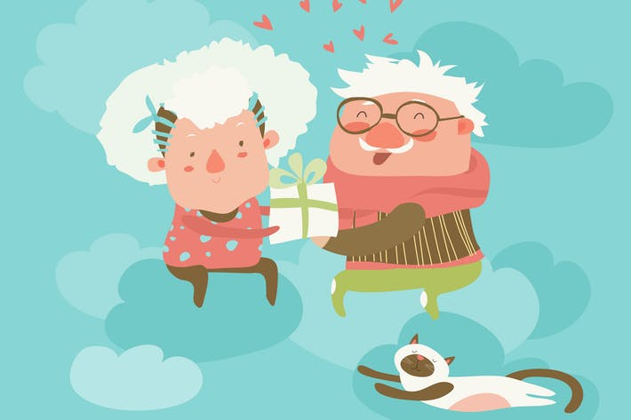 Thumbnail for Couple of elderly angels hugging. Vector greeting