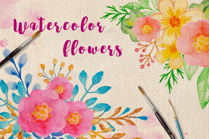 Thumbnail for Watercolor Flowers and Leaves