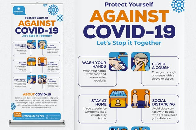 Against Covid-19 Roll Up Banner - product preview 1