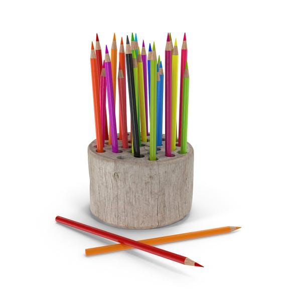 Soporte para lápices de madera.