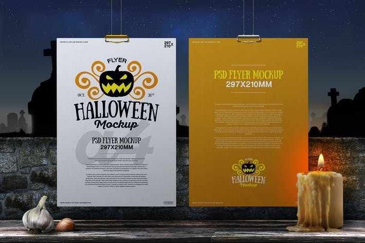 Thumbnail for Halloween Mockup Hanging A4 Flyer Poster 02