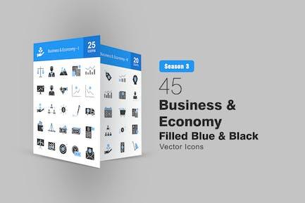 45 Gefüllte blaue und schwarze Icons für Unternehmen und Wirtschaft
