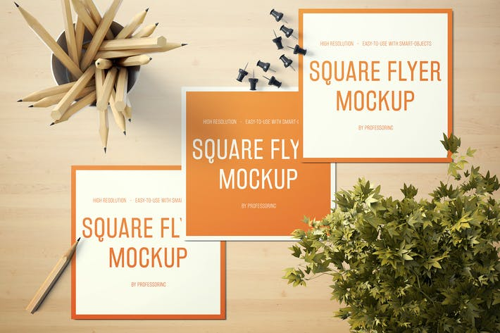 Thumbnail for Square Flyer Mockup - Set 1
