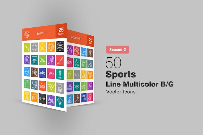 Thumbnail for 50 Sports Line Multicolor B/G Icons Season II