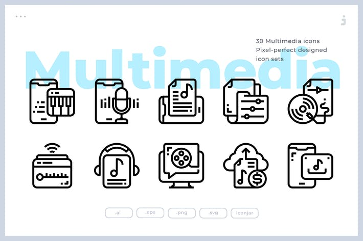 Thumbnail for 30 Multimedia Icons