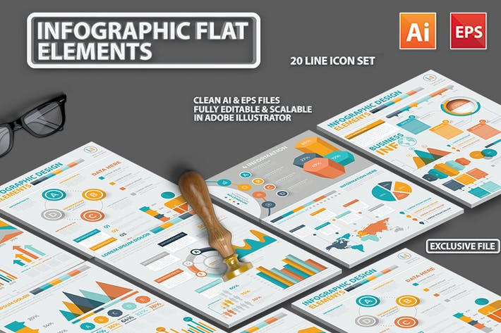Thumbnail for Infographic Flat Elements Design 3
