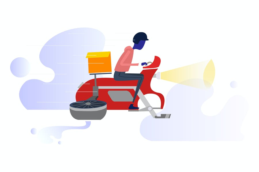 Motorcycle Drones Delivery Illustration