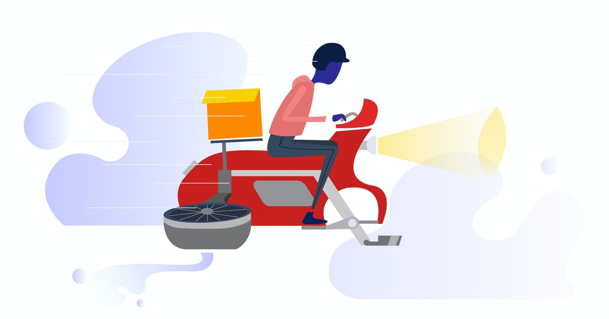 Download Motorcycle Drones Delivery Illustration by angelbi88
