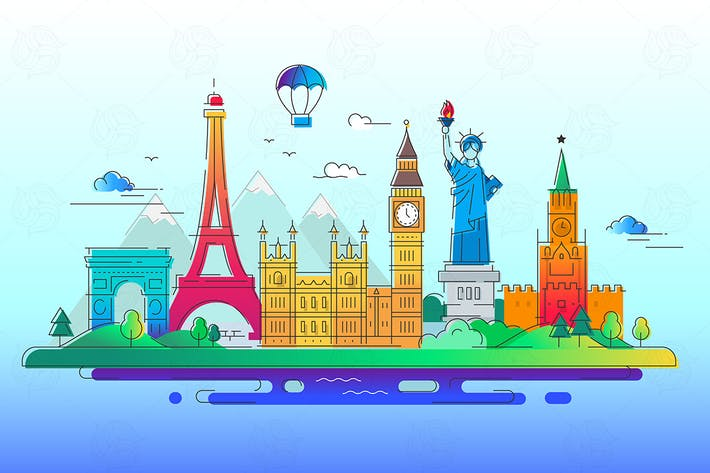 Thumbnail for Countries - vector line travel illustration