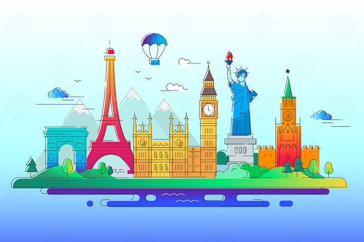 Länder - Vektor linie Reise Illustration