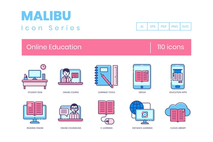 Thumbnail for 110 Online Education Line Icons