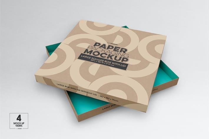 Thumbnail for Large Square Paper Box&Lid Mockup