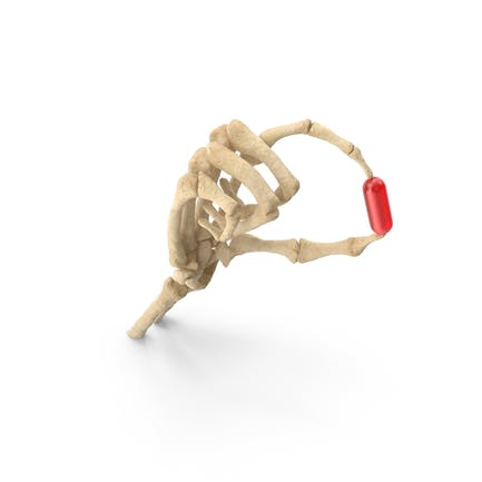 Skeleton Hand Holding a Pill