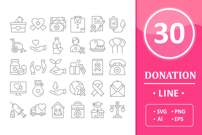 Thumbnail for 30 Donation Icons - Line