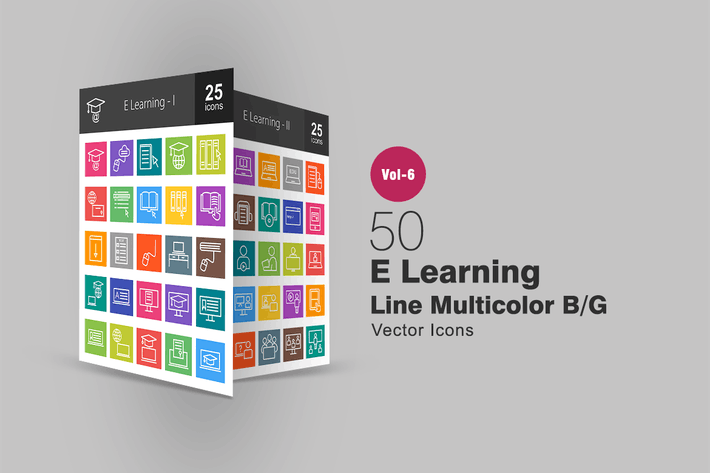 Thumbnail for 50 E Learning Line Multicolor B/G Icons