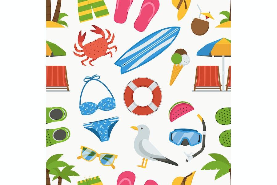 Summer Vacation Seamless Pattern