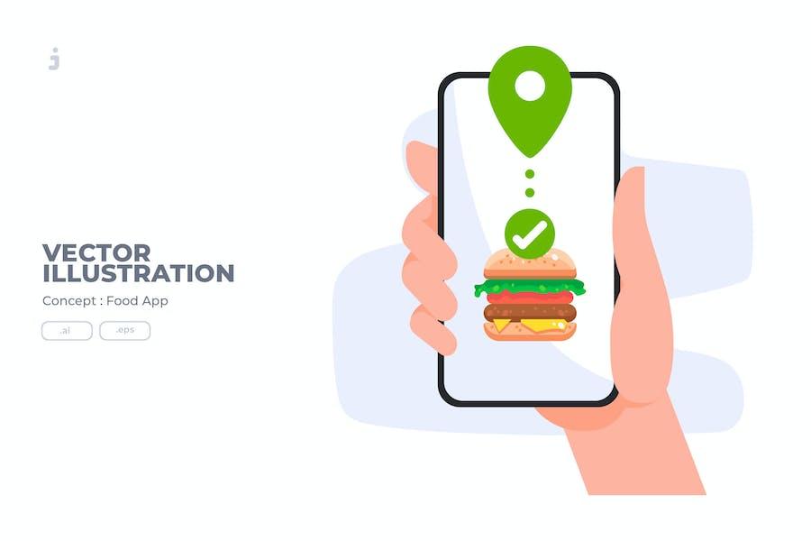 Food App - Vector Illustration
