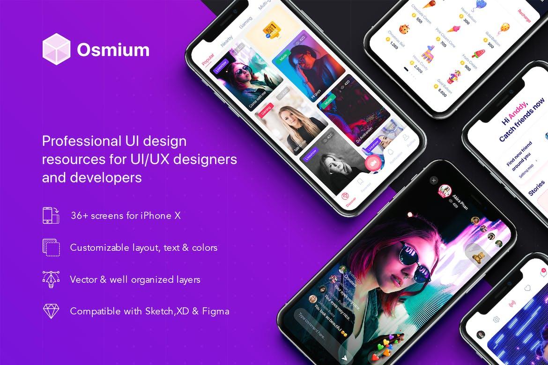 Osmium Professional UI Kit Premium UI Kit For XD + Sketch + Figma