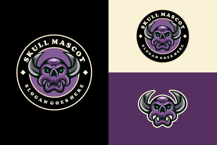 Thumbnail for skull head mascot logo design